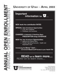 annual open enrollment - Human Resources - University of Utah