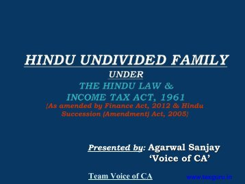 Download Free e-book on HUF under Hindu Law ... - TaxGuru