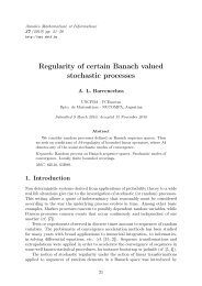 Regularity of certain Banach valued stochastic processes - Annales ...