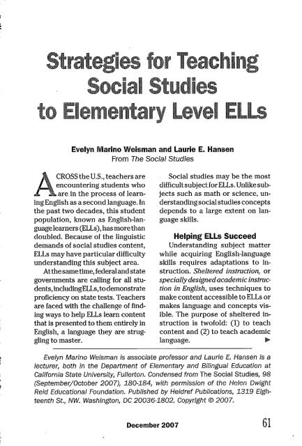 Social Studies To Elementary Level Ells Department Of Education