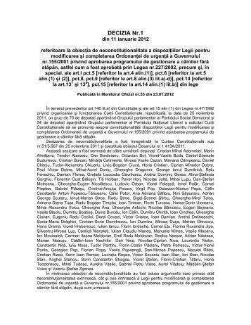 14. Decizia nr. 1 din data de 11.01.2012 - Curtea Constituţională a ...
