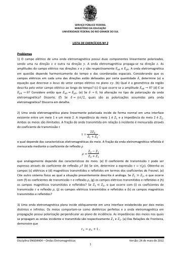 Lista de Exercícios Nº 2 - Chasqueweb.ufrgs.br