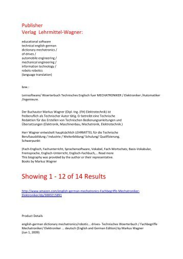 german-english reference books: dictionary mechanical engineering mechatronics electronicsShowing 1 - 12 of 14 Results