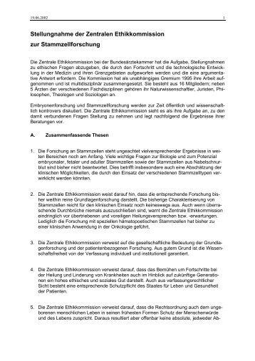 Stellungnahme der Zentralen Ethikkommission zur ...