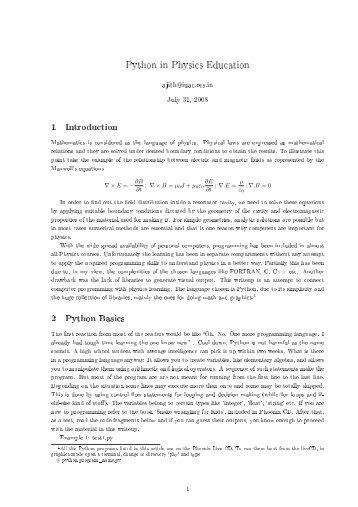 Python in Physics Education 1 Introduction 2 Python Basics - IUAC