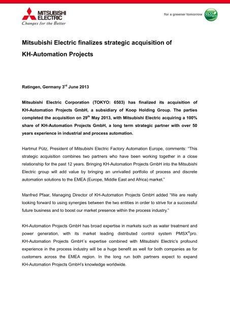 Mitsubishi Electric finalizes strategic acquisition of KH