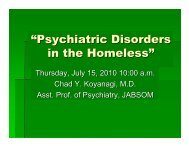 """""""Psychiatric Disorders in the Homeless"""" - City and County of Honolulu"""