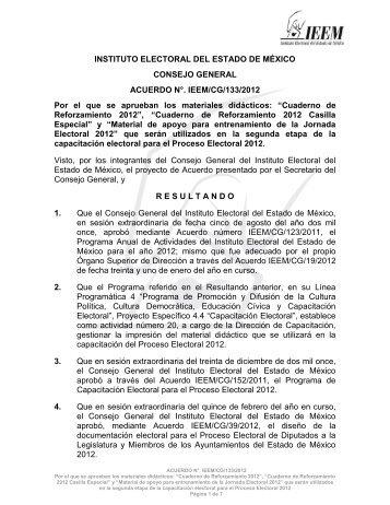 Cuaderno de Reforzamiento 2012 - Instituto Electoral del Estado de ...