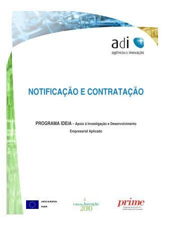 Notificação e Contratação de Projectos IDEIA - Adi
