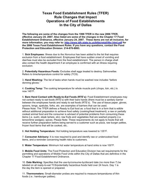 Texas Food Establishment Rules Tfer Rule City Of Dallas