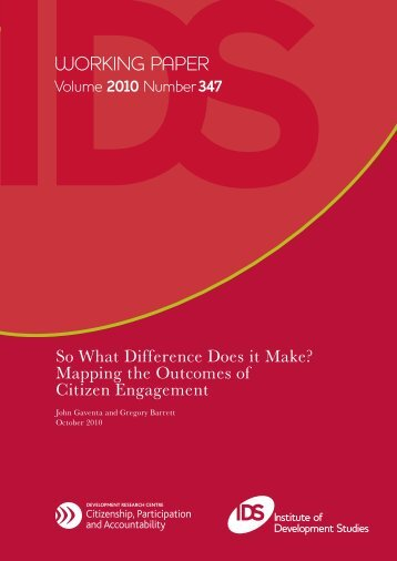 So What Difference Does it Make? Mapping the ... - Citizenship DRC