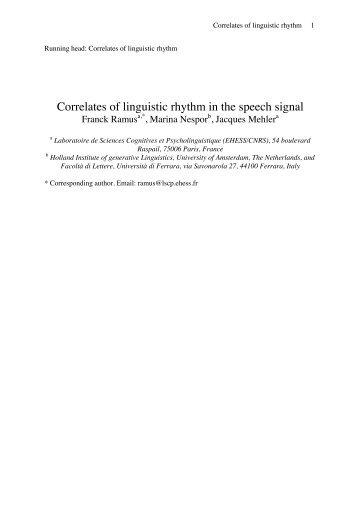 Correlates of linguistic rhythm in the speech signal