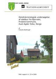 Dendrokronologisk undersøgelse af stabbur fra Bjorvatn, Froland ...
