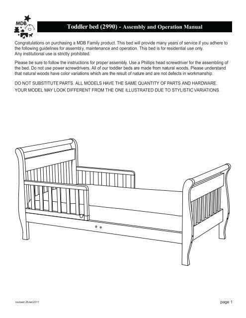 Toddler Bed 2990 Assembly And Operation Manual Davinci Baby