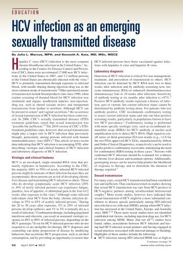 Hcv infection as an emerging sexually transmitted disease