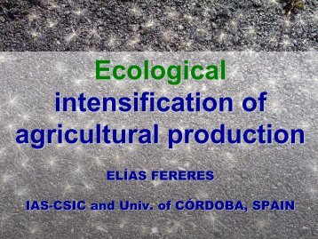 Ecological intensification of agricultural production