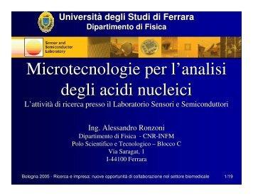 Microtecnologie per l'analisi degli acidi nucleici - First