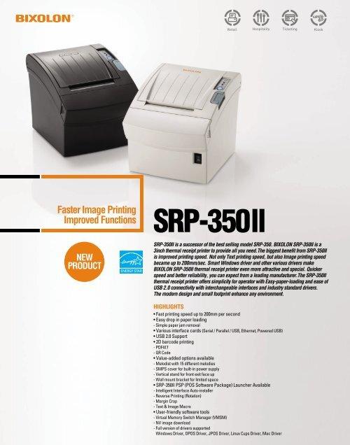 SRP-350 II Sales Brochure  - Bixolon Mini Printers UK