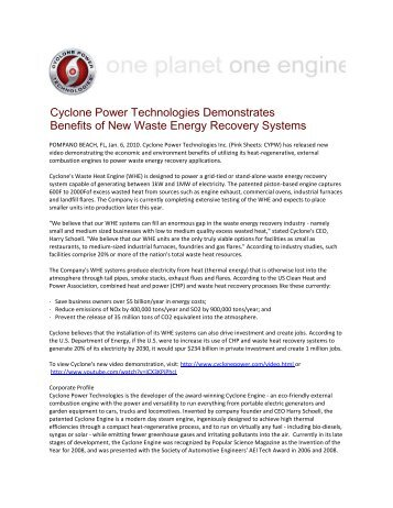 1/06/10 Cyclone Power Technologies Demonstrates Benefits of New ...