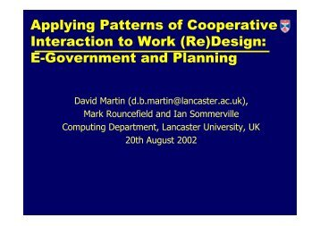 Applying Patterns of Cooperative Interaction to Work (Re)Design: E ...