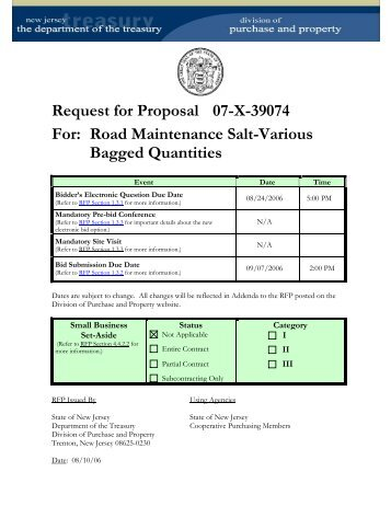 Request for Proposal 07-X-39074 For: Road Maintenance Salt ...