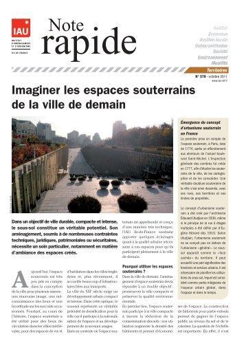 Imaginer les espaces souterrains de la ville de demain - IAU îdF