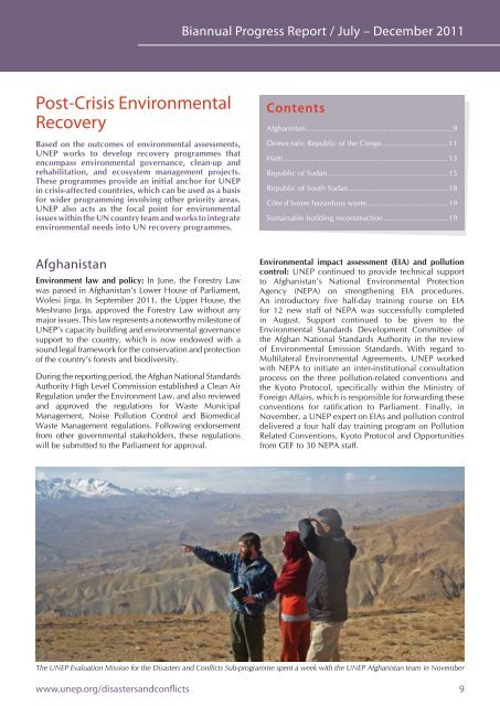 Post-Crisis Environmental Recovery - Disasters and Conflicts - UNEP