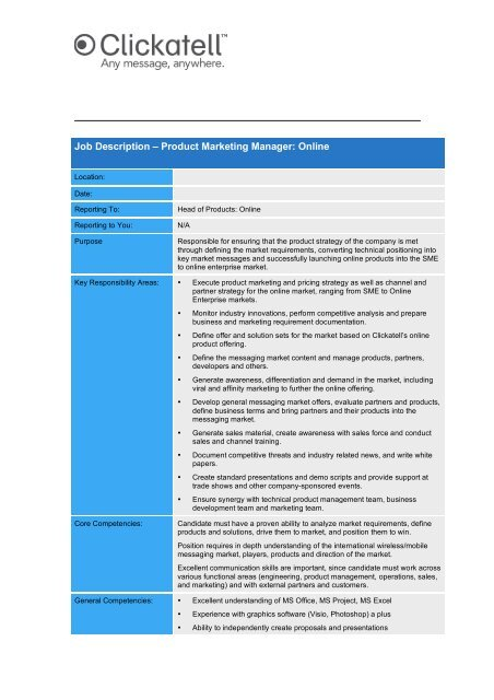 product marketing manager key responsibilities