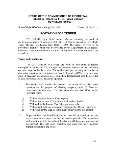 INVITATION FOR TENDER - Income Tax Department