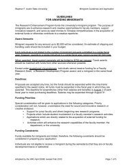 Application & Guidelines - Stephen F. Austin State University