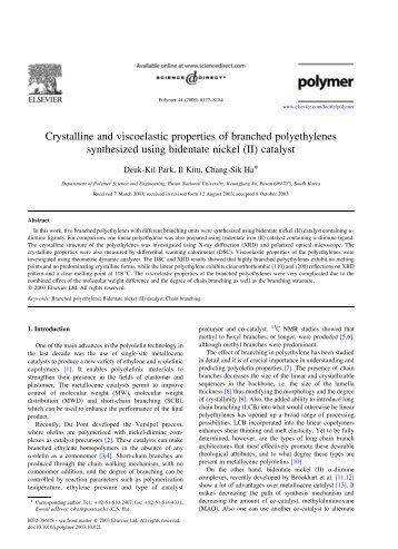 Crystalline and viscoelastic properties of branched polyethylenes ...