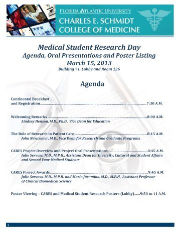 Medical Student Research Day 2013 - College of Medicine - Florida ...