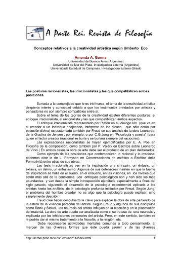 Conceptos relativos a la creatividad artística según Umberto Eco