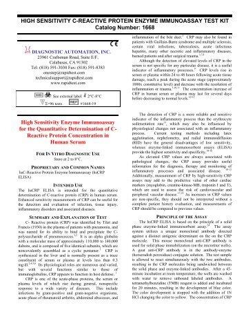 1668 High Sensitivity Enzyme Immunoassay for the - Diagnostic Kit