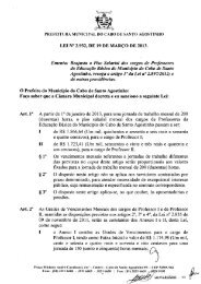 Ementa: Reajusta o Piso Salarial dos cargos de Professores da ...