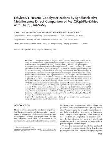 Ethylene/1-Hexene Copolymerizations by Syndioselective ...