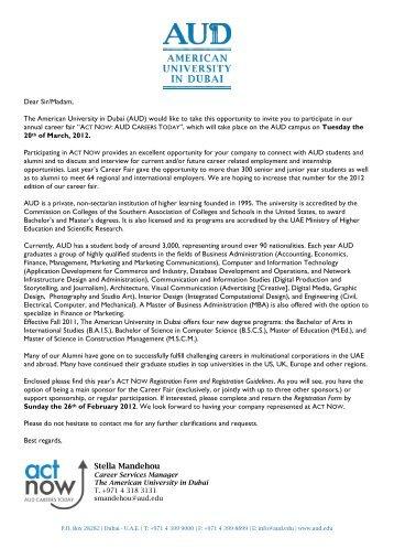 "Career Fair ""ACT now - American University in Dubai"