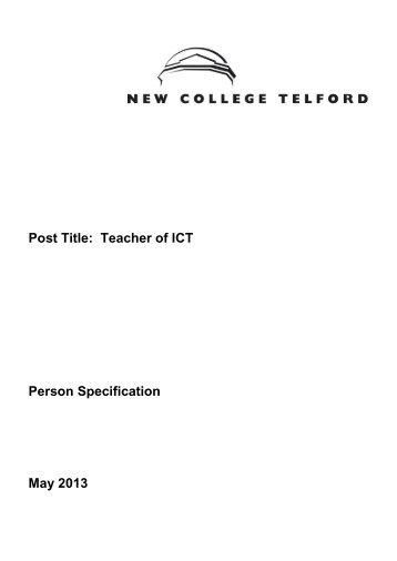 Person Specification - Eteach