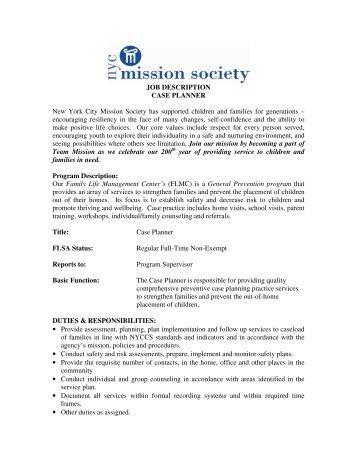 JOB DESCRIPTION CASE PLANNER New York City Mission ...