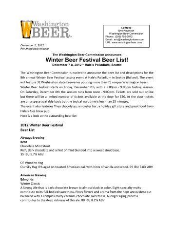 2012 Winter Beer Festival Beer Release - Washington Beer ...