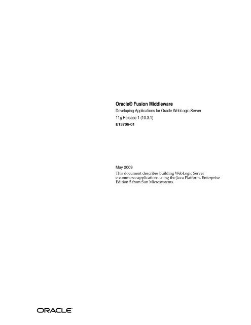 Developing Applications for Oracle WebLogic Server