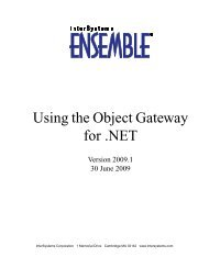 Using the Object Gateway for .NET - InterSystems Documentation
