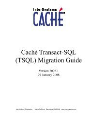 Caché Transact-SQL (TSQL) Migration Guide - InterSystems ...