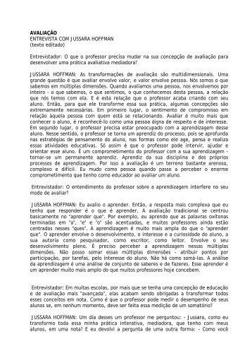 AVALIAÇÃO ENTREVISTA COM JUSSARA HOFFMAN (texto ...