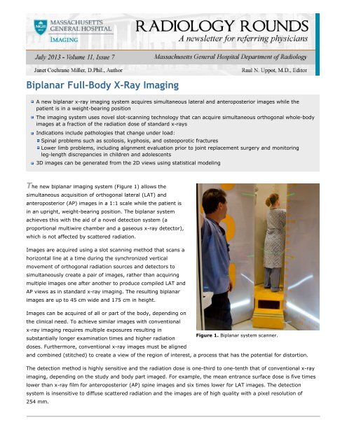 Radiology Rounds - July 2013 - Biplanar Full-Body X-Ray Imaging
