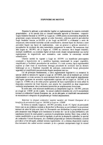 EXPUNERE DE MOTIVE Punerea în aplicare a prevederilor legilor ...