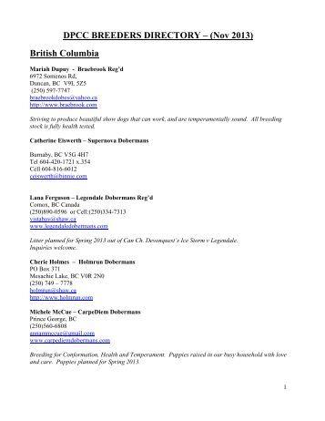 1 DPCC BREEDERS DIRECTORY – as of Feb 2013 British ...