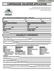 Volunteer Application - Vermont State Parks