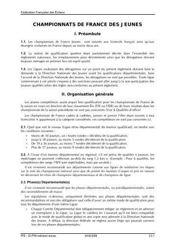 CHAMPIONNATS DE FRANCE DES JEUNES - Fédération ...