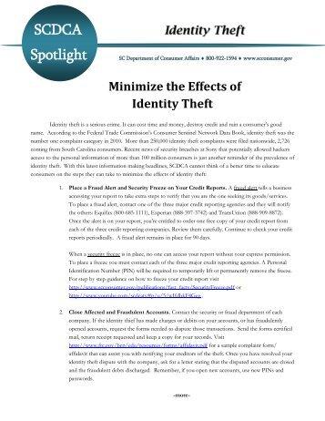SCDCA Identity Theft - SC Consumer Affairs